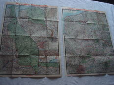 "German Empire; 2 original vintage maps from 1917/1918, Paasche's front map no. 18 and 24, ""The Western theatre of war and The war against Russia"" and ""The great campaign in France, Italy, the Balkans, the West and the Orient"" World War I"