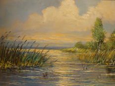 Jan van Vlaardingen-(1913-1980)-Dutch lake view