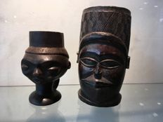 Lot of 2 miniature wooden ritual cups - PENDE - Former Belgian Congo