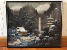 ":The mountain"" - textile painting - Japan - early 20th century"