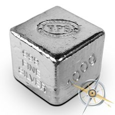 USA - Yeagers Poured Silver - 100 grams - 999 fine silver bullion cube / silver cube - hand-cast