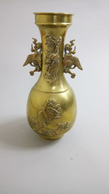 Brass vase with maker's mark and decoration of cranes and waves - Japan - Mid 20th century