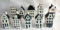 10 KLM Delft Blue Business Class houses. (Customs regulation houses!)