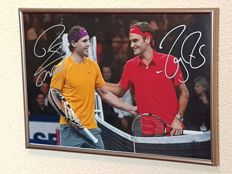 Roger Federer vs. Rafael Nadall - Tennis Legends - original hand-signed by both framed photo + COA