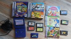 Gameboy Advance SP Blue Including 10 games like Pokémon Sapphire , Sonic 2  ,Crash and more