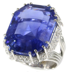 Astonishing Fifties platinum cocktail ring with a natural 53.35ct. sapphire and diamonds