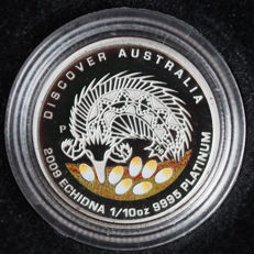 "Australia - 15 dollars 2009 ""Echidna"" with coloured background - 1/10 oz platinum"