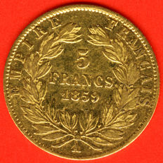 France - 5 Francs 1859 A (Paris) - Napoleon III - Gold