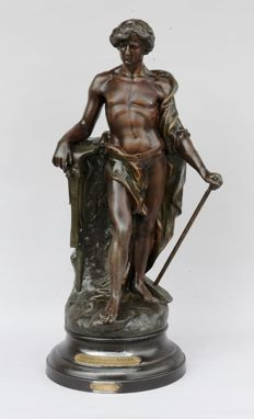 V. Constant - large sculpture of a blacksmith / male nude 'Le Travail' - France - ca. 1900