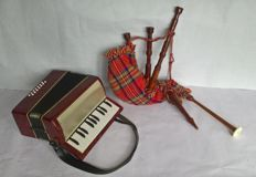 Well working Accordion and decoration Bagpipes