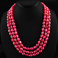 Beautiful 3 strand ruby necklace on an adjustable silk string