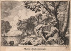 Melchior Küsel  (1626-1684) : Marsyas skinned by Apollo /  (Added: The nymph Arethusa changed in a cloud ) -  1681
