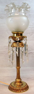 Brass floor lamp with crystal pendants