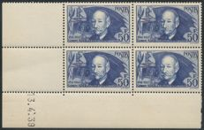 1939 France - Clement Ader - dated corner block of 4 - Yvert no. 398