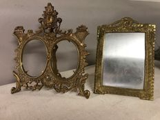 Lot of two large French standing bronze photo frames - early 1900s