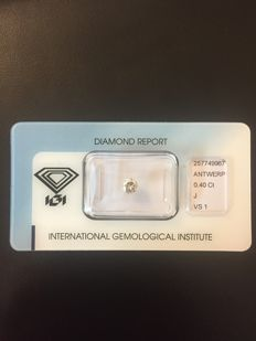 IGI Investment Diamond — 0.40 ct, J, VS1