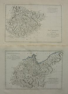 Germany, Saxen; M. Bonne - Lot consists of 2 maps - ca. 1780