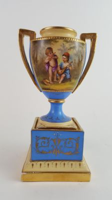 19th century Vienna style 2 handle vase