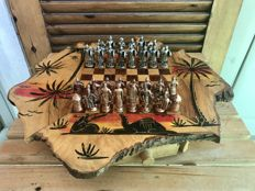 Persian chess-table made of wood and metal.