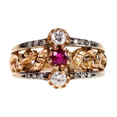 Art Nouveau ring set with Diamond, natural Ruby in gold 18k