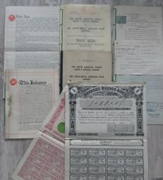 Harrods Buenos Aires - Extremely rare lot of two different shares and documents about The South American Stores , Gath & Chaves and The Anglo South American Bank - The Chilian Stores with original signatures and company seals