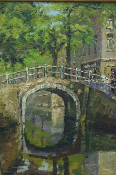 P. Smink (20th century) - Bruggetje over gracht