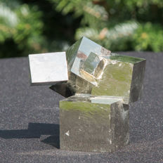Top Twin Pyrite cubes - Very rare - 6,5 x 6 x 6 cm -  330 gm