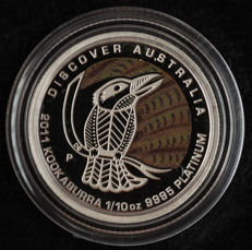 "Australia - 15 dollars 2011 ""Kookaburra"" with a coloured background - 1/10 oz platinum"