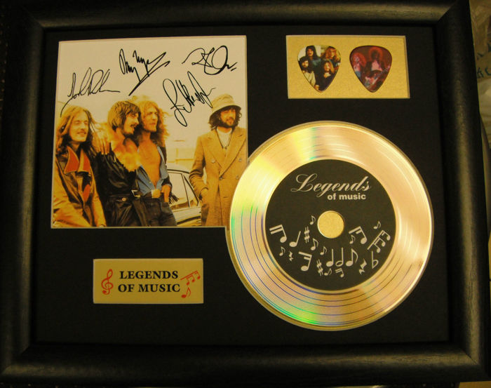 Led Zeppelin Preprinted Autograph, Gold Disc & Plectrum Presentation