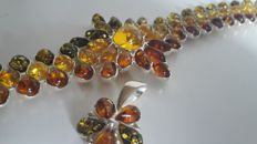 Multi colour flower bracelet and pendant natural Baltic Amber and silver 925