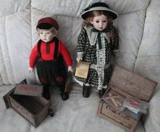 """Franklin Mint, Coca Cola collectible dolls """"Billy"""" and """"Elise"""", 1994/1997"""