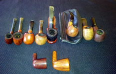 A collection of 10x vintage pipes - Charatan, Beretta, Dunhill, Bristol, Peterson, Mastro De Paja, Castello, Tilshead