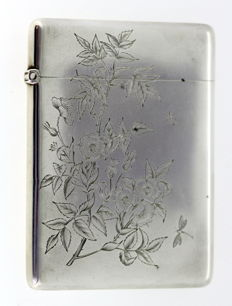 Victorian solid sterling silver card holder with floral and leaf engravings - Deakin & Francis Ltd - Birmingham - 1883