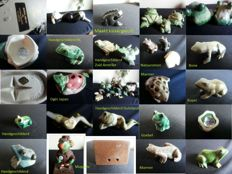 Collection of frogs, 118 pieces, porcelain, wood, ceramic, bone, copper etc