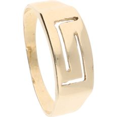 14 kt - yellow gold ring with Greek motif - 17.5 mm