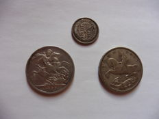 Great Britain – Shilling from 1817; crown from 1889 and 1935 (3 pieces) – In silver