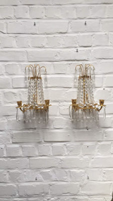Pair of classic brass and glass wall lamps for two candles and a bulb, France, circa 1950