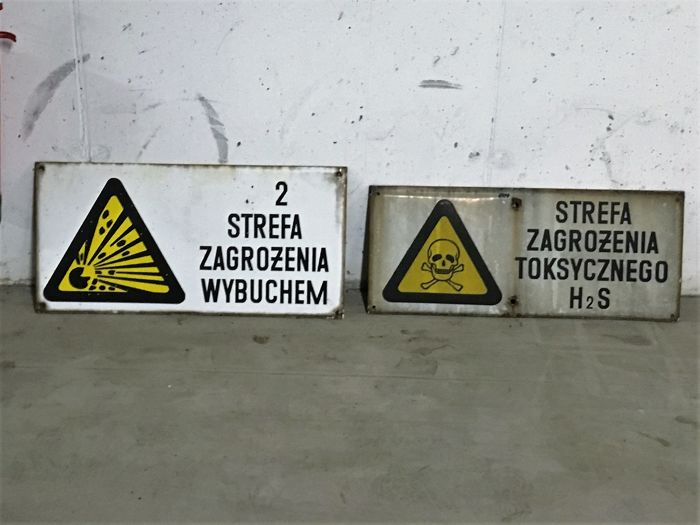 Two big enamel signs - Second hazard zone/Explosion hazard. Period after the war (1945). Fortress Festung Breslau. Poland
