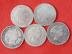 Spain – Isabel II – Complete collection of the 5 coins of 40 cents with the coat of arms of Madrid –