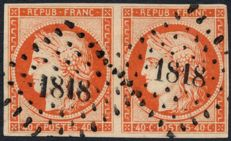 France 1849 – Cérès 40c dark orange, signed by Calves + Certificate – Yvert No. 5b pair