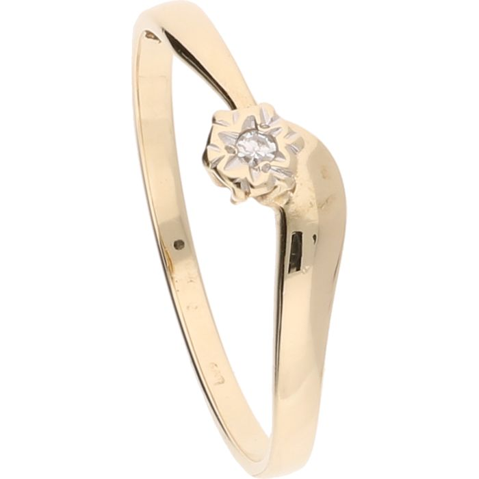 14 kt – Yellow gold ring set with a 0.02 ct octagon cut diamond – Ring size: 19 mm