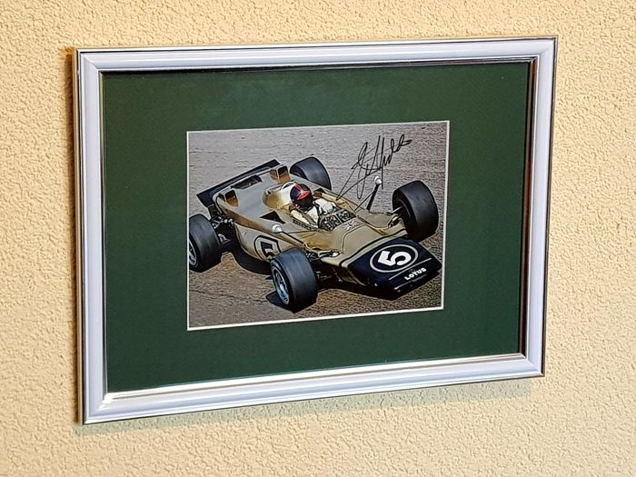 Emerson Fittipaldi - 2 -time world champion Formula 1 - original autographed framed F1 photo + COA.