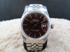 """1972 ROLEX DATEJUST 1601 SS WITH GLOSSY """"STELLA"""" OXBLOOD DIAL"""