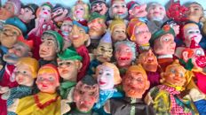 Large collection of 40 old puppet dolls/puppets/Puppetshow-various Countries