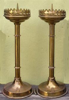 Pair of Gilded Gothic Revial Altar Candlesticks - 19th Century