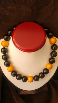 Short Baltic Amber modified Black and Egg yolk colours necklace, length 47 cm