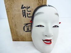 Ceramic Noh mask of a young woman - with maker's mark - Japan - 2nd half of the 20th century