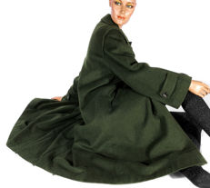 Bogner green loden coat with removable fur lining muskrat fur coat