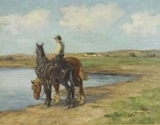 Axel Hansen ( 1896-1936) - Watering the horses