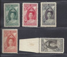 Suriname 1923 – Anniversary of the reign of Wilhelmina – NVPH 104, 105, 106, 107 and 109.